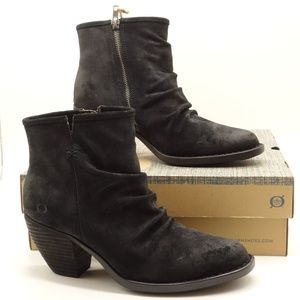 NWT BORN Arie Black Distressed Leather Ankle Boots